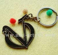 FREE shipping, V snake antique gold metal keychain, enamel with epoxy black keyring