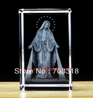 Free shipping religious 3D the Virgin Mary laser engraved crystal