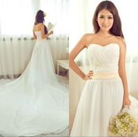Beautiful 2013 bride dress sweetheart neckline 2 meters big train chiffon tube top free shipping wholesale