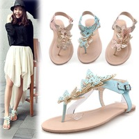 free shipping hot sales,2013 New style student bow flower flat ,paragraph flip-flop sandals, plus size,drop shipping