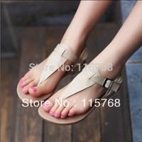 Summer new arrival 2013 PU flip-flop flip nude color flat heel casual women's buckle sandals flatbottomed women's shoes