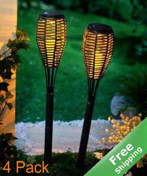 Solar Rattan Torch Light +100% solar powered+Yellow LED+4pcs/lot+Free shipping