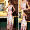 Free Shipping 2013 A-line Printed Soft Satin Appliques One Shoulder Long Prom Dresses 30788