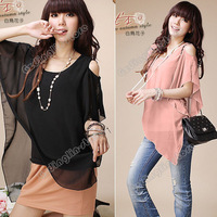 New Summer Fashion Womens Clothing Off Shoulder Sexy Crew Neck Chiffon Tops Blouse Shirt Pink Black Size S Free Shipping 0430