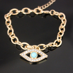Evil Eye Clear Crystals Charm Bracelet Good Luck Free Shipping 13031726 B2-182(China (Mainland))