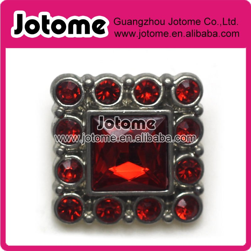 26mm Square Plastic Acrylic Diamond Button for Clothing,Flower Center/Silver Base with Ruby Rhinestone/Bulk Wholesale(China (Mainland))