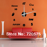 Modern Frameless Large Wall Clock DIY Your Own Style Interior Design MAX3 12S007  freeshipping