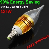 Led Candle Bulb Free Shipping 2PCS with Wholesale Price 3W 3pcs Leds with Golden Shell
