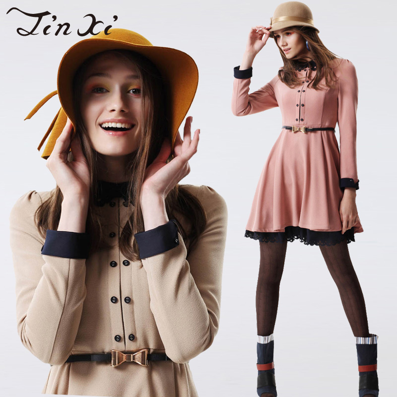 Free shipping British style cutout peter pan collar high quality j23307 long-sleeve dress(China (Mainland))