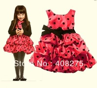 2013 Popular Baby Girl Dress Kids Cake Dress Round Dot Silk Fabric Butterfly Ruffle Princess Free Shipping