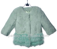Free shipping YR-687 Children's Genuine Rabbit and Turkey Feather Fur Jacket