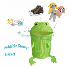 Wholesale Animals Frog Pop Up Storage Clothes Laundry Foldable Bin Hamper Storage Basket(China (Mainland))