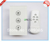 US Style RF Remote Control Electromotion Touch wireless Curtain Switch , Crystal Tempered Glass Touch Panel Wall Switch