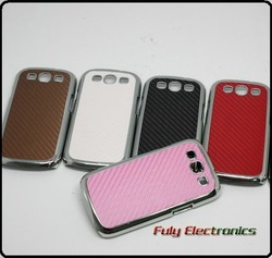 Chrome carbon fiber skin cover case for Samsung Galaxy s3 siii i9300 ,40pcs/lot free shipping(China (Mainland))