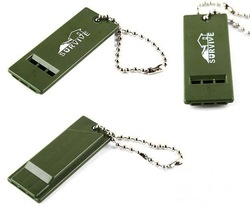 Olive Green Emergency Survival Whistle 3 Frequencies whistle Camping Accessory Tool Emergency Gears 20pcs/lot S003(China (Mainland))