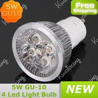 GU10 4 Led 5W Spotlight Bulb New 85~265V 4*1.25W Led Downlight Lamp 5W GU10 4Led Light Bulb Pure White/Warm White
