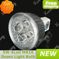 Wholesale MR16 4 LED 5W High Power Led Bulb Lamp 12V Acrylic Lens Aluminum Shell LED Spotlight led Down Light Bulb Free Shipping