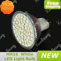 Wholesale MR16/GU5.3 48 3528 SMD LED Light Bulb 2.5W 12V LED Spot Light 400~550lm Spotlight Pure White/Warm White Free Shipping