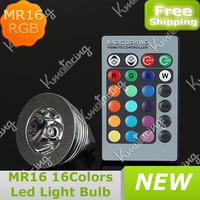 Wholesale 3W MR16 RGB Led Bulb IR Remote Control LED Lamp Setting Room Magic Color 16 Colors Flat Lens 85-265v AC Free Shipping
