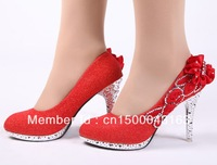 Free shipping  new women's high-heeled shoes , red flower wedding shoes  Fashion diamond single shoes