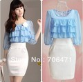 S-M-L-XL Free shipping half sleeve ruffles solid patchwork ladies slim mini working chiffon dress new fashion