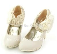Fashion women flowers high heels  Beige . Bride wedding shoes  Ladies dress shoes Free Shipping