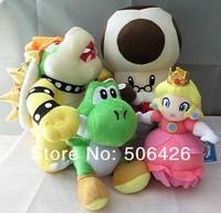 "Free Shipping 4pcs/set New Super Mario Bros plush toy doll 10"" Bowser+7"" green yoshi + 8"" princess+10"" old toad"