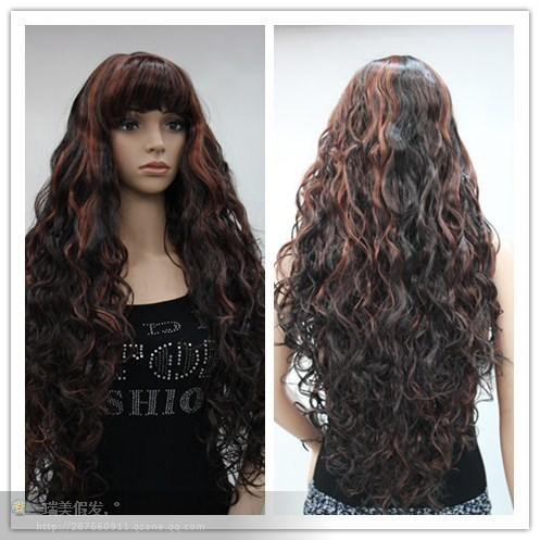 new fashion sexy popular mix color long auburn curly healthy full cosplay party women's wig/wigs+free hair cap(China (Mainland))