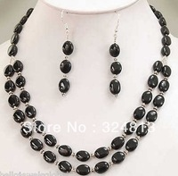 BEAUTIFUL! BLACK ONYX NECKLACE +EARRING SET