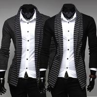 Мужские жилетки двойной взвода чтобы пряжки мужчин импорта АББ вязание свитер джемпер рубашки черный серый m l xl