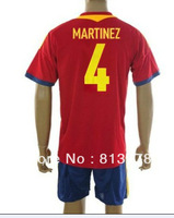 new 13-14 Spain 4# MARTINEZ T-SHIRT soccer jersey  home red  brand t-shirt  jerseys cheap hot sell