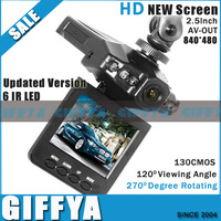 "Updated Version H201 Car Camera 6 IR LED HD Car video recorder Night vision Car DVR 2.5"" LCD 270 degree rotation Screen"
