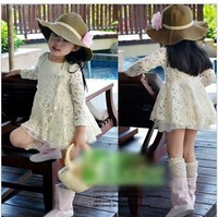 Hot sale wholesale girls rice white princess flower lace dress free shipping