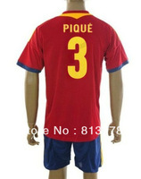 new 13-14 Spain  3# PIQUE T-SHIRT soccer jersey  home red  brand t-shirt  jerseys cheaper jersey mix order