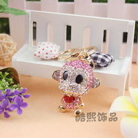 2015 Chaveiros Shoes Sale Freeshipping Chaveiro Fashion Jewelry Cute Monkey Keychain Car Women Crystal Plated Bag Buckle Gift