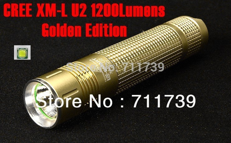SMART E37 Golden Edition CREE XM-L U2 1200Lumens IPX7 waterproof High Power Torch LED Flashlight -Free ship