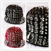 free shipping New Fashion man/women Punk Hip-hop Spikes Rivets Studded Button Adjustable Cap Rocker baseball Hat