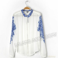 Free Shipping  Chiffon Printed Turn-down Collar Fashionable T-shirts Ladies Blouse S/M/L 1pc/lot 651241