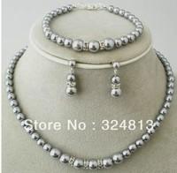 wedding grey 8*12mm southsea AAA shell pearl necklace earring bracelet