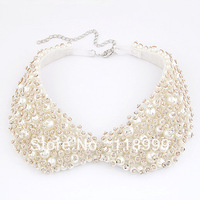 Hot Sale Gift Jeweled Pearl and Crystal Chocker Collar Necklace Fashin Design Jewelry Wholesale Price Free Shipping