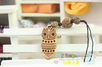 Accessories small gift imitation cherry wood owl mobile phone chain mobile phone pendant
