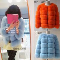 2013 fairy elegant genuine high quality blue jindao full leather fox fur coat for women multicolor