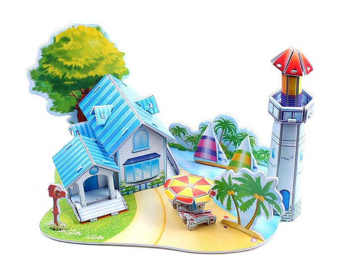 3D puzzle DIY Models Home Adornment Model Puzzle Toy Papermodel Paper craft Card model -romantic beach(China (Mainland))
