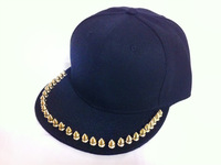 2013 fashion designer Womens Punk&Rock Rivets golden studded  hat Spikes Baseball Cap for man pub hiphop hip-hop flat COOL
