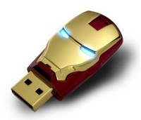 Wholesale Hot sale Fashion Avengers Iron Man LED Flash 2-32GB USB Flash 2.0 Memory Drive Stick Pen/Thumb/Car USB100