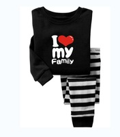 I love my family, Baby/Children 100% Cotton knit long sleeve T shirt + pant pajamas/sleepwear/clothing sets for 2-7 year G-7142