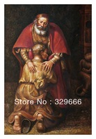 "Free Shipping (1 piece/pieces) Giclee Printed On Canvas Rembrandt Oil Painting ""The Return of the Prodigal Son"" Deco Scenery Art"