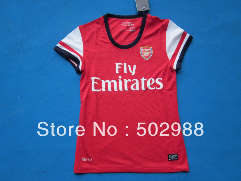 top thailand quality 2012-2013 Arsenal home red women football jersey,lady soccer shirt,sports training jersey(China (Mainland))