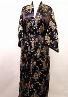 Black Chinese tradition Unisex Satin Robe Kimono Gown Sleepwear with Dragon Free shipping S-XXXL
