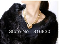 (MIX MIN. ORDER$9.9)Free shipping gold statment women chunky necklace choker link chain lion's head pendant christmas gift